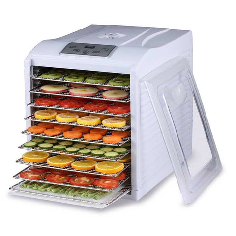 BioChef Arizona Sol 9 Tray Food Dehydrator white front right open fruit