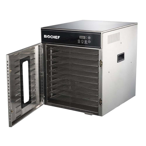 BioChef Commercial 10 Tray Digital Food Dehydrator front side open