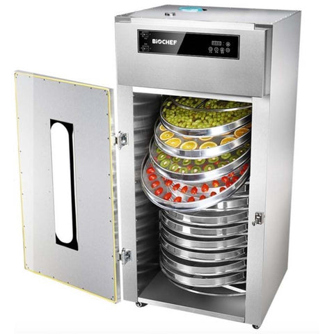 BioChef Commercial Rotating 15 Tray Food Dehydrator front open full