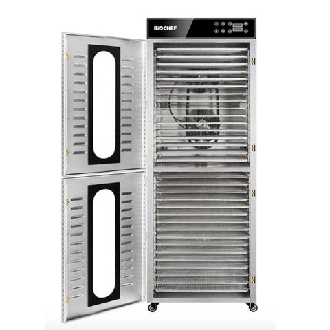 BioChef Commercial Vertical 32 Tray Digital Food Dehydrator empty with shelves