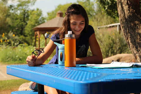 EcoVessel 'The Boulder' TriMax Insulated Water Bottle with Strainer orange