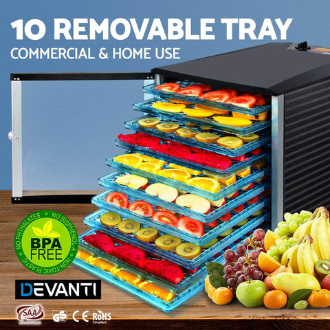 Devanti Commercial Food Dehydrator With 10 BPA-Free Plastic Trays 10 removable trays