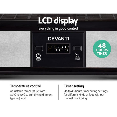 Devanti Food Dehydrator with 5 Trays - Silver timer control