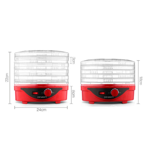 Devanti Food Dehydrator with 5 Trays - Red dimensions