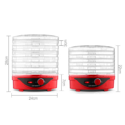 Devanti Food Dehydrator with 7 Trays - Red dimensions