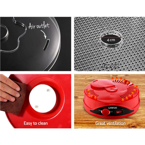 Devanti Food Dehydrator with 7 Trays - Red easy clean