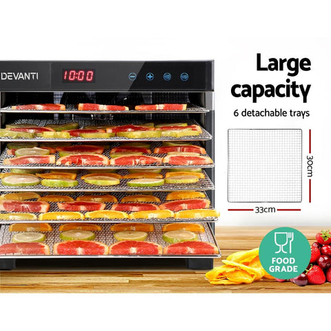 Devanti 6 Trays Commercial Food Dehydrator - Stainless Steel