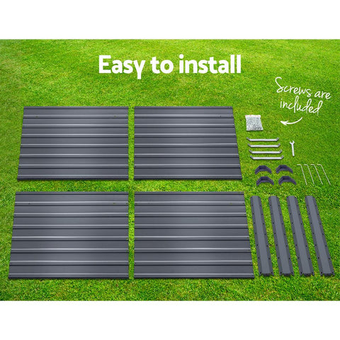 Greenfingers Garden Bed 100x100x77cm Galvanised Steel x 2 - Grey planter box