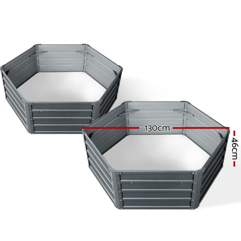 Greenfingers Hexagon Garden Bed 2 Pieces 130 x 130 x 46cm Galvanised Steel - Grey dimensions