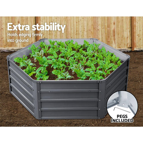 Greenfingers Hexagon Garden Bed 2 Pieces 130 x 130 x 46cm Galvanised Steel - Grey hexagon planter