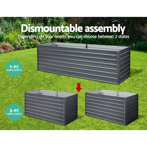 Greenfingers Garden Bed 320 x 80 x 77cm Galvanised Steel Raised Planter 2 assemblies