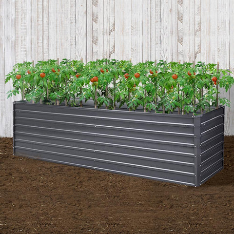 Greenfingers Garden Bed 320 x 80 x 77cm Galvanised Steel Raised Planter vegetable garden