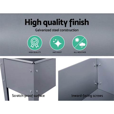 Greenfingers Raised Planter Bed 100 x 80 x 30 cm Galvanised Steel - Grey high quality finish