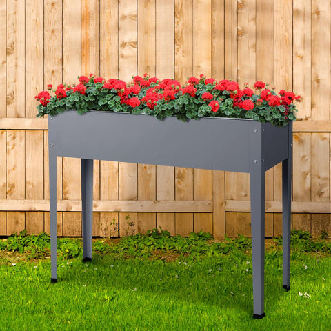 Greenfingers Raised Planter Bed 100 x 80 x 30 cm Galvanised Steel - Grey raised planter