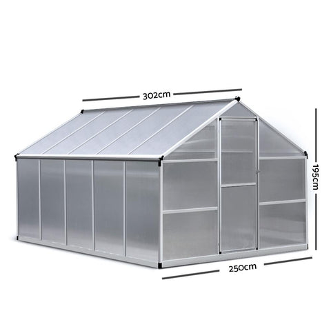 Greenfingers Greenhouse Aluminium Green House Garden Shed Greenhouses 3.02x2.5M hothouse