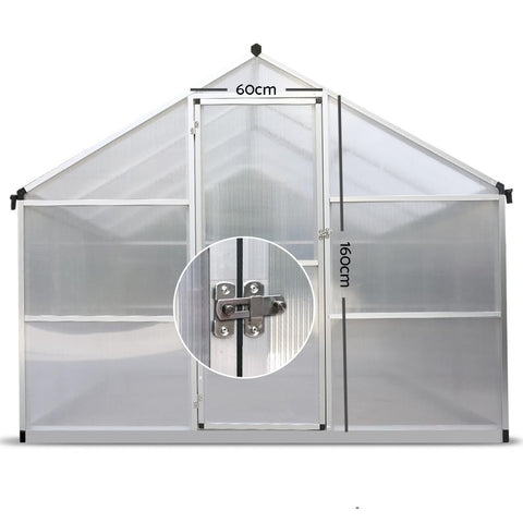 Greenfingers Large Greenhouse Polycarbonate Aluminium 3.6m x 2.5m x 2.0m