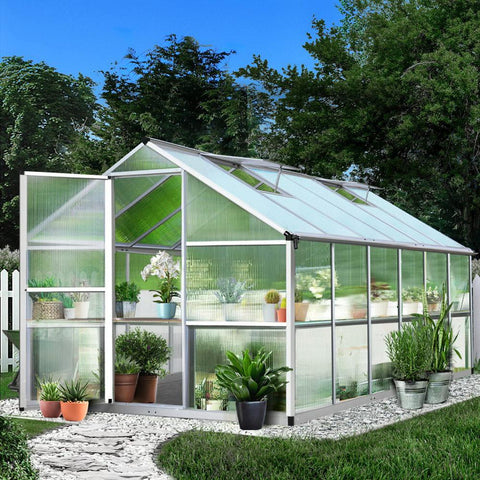 Greenfingers Greenhouse Polycarbonate Aluminium 3.6m x 2.5m x 2.0m large home greenhouse