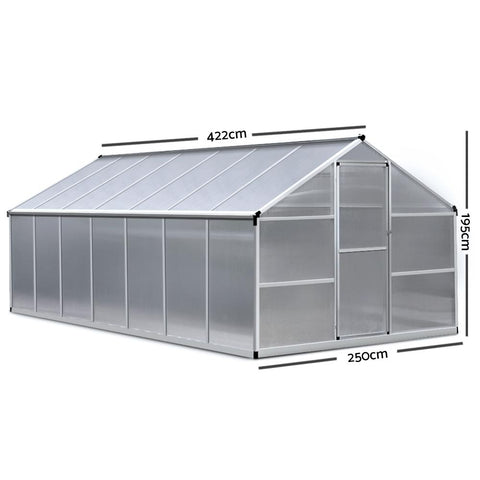 Greenfingers Greenhouse Aluminium Green House Garden Shed Greenhouses 4.22x2.5M hot house