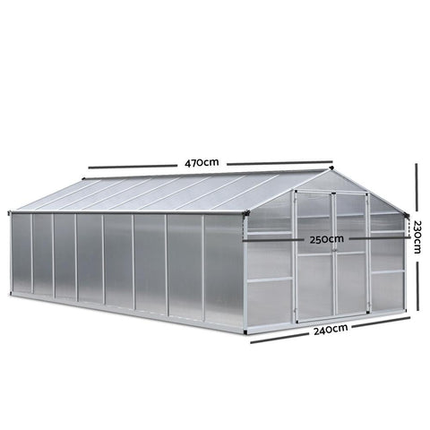 Greenfingers Greenhouse Aluminium Green House Garden Shed Greenhouses 4.7x2.5M dimensions