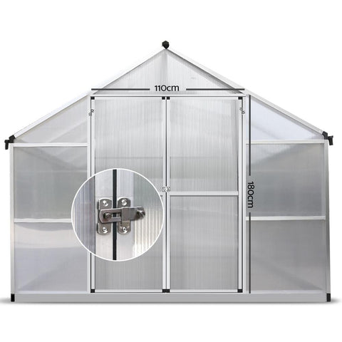 Greenfingers Greenhouse Aluminium Green House Garden Shed Greenhouses 4.7x2.5M large door