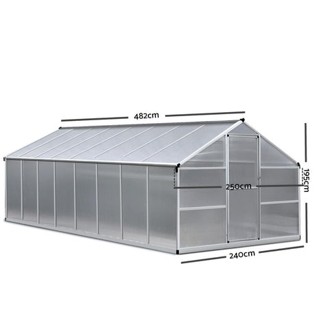 Greenfingers Greenhouse Polycarbonate Aluminium 4.8 x 2.5 x 2.0m