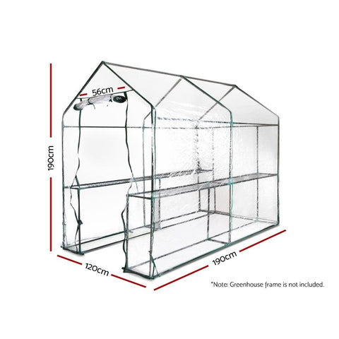 Greenfingers Greenhouse PVC Replacement Cover 1.9 x 1.2 x 1.9m