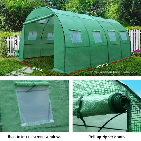 Greenfingers Garden Shed Greenhouse 4m x 3m x 2m Green House Replacement Cover Only