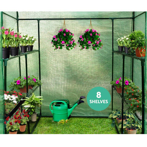 1.4 x 1.55 Metre Walk-in All Weather Greenhouse 8 shelves
