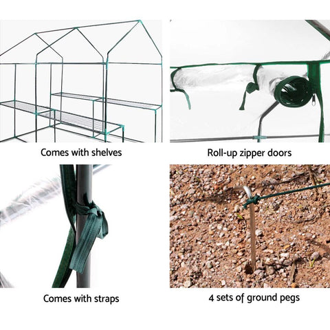 Greenfingers Greenhouse Clear PVC 1.9m x 1.2m x 1.9m garden greenhouse