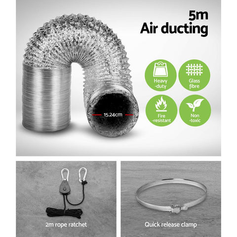 "Greenfingers 6"" Hydroponics Grow Tent Kit Ventilation Kit Fan Carbon Filter Duct 5m air ducting"