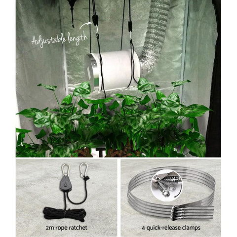 Greenfingers Hydroponics Grow Tent Ventilation Kit Vent Fan Carbon Filter Duct Ducting 4 inch grow duct