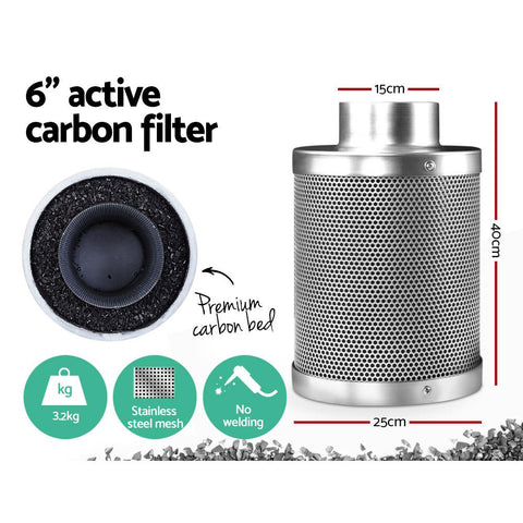 Products Greenfingers Hydroponic Activated Carbon Filter Grow Tent Ventilation Kit 6 inch