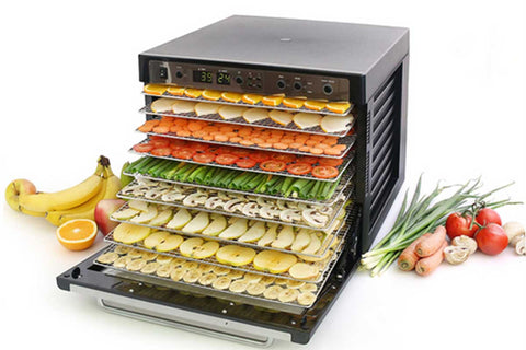 Sedona Combo Rawfood Dehydrator with 9 Stainless Steel Trays TBSC9TSS open front