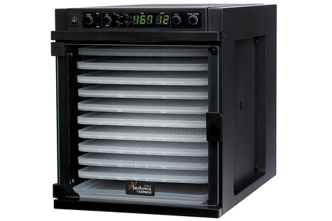 Sedona Express Dehydrator 11 Plastic Trays TBSE11TP front right closed empty