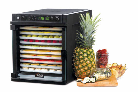 Sedona Express Dehydrator 11 Plastic Trays TBSE11TP front right closed fruit