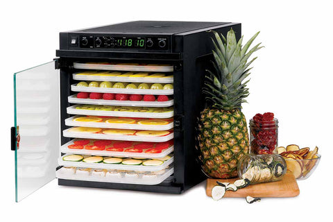 Sedona Express Dehydrator 11 Plastic Trays TBSE11TP front side fruity