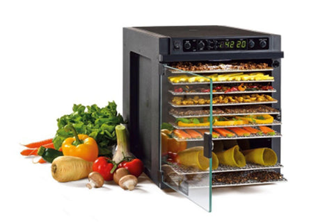 Sedona Express Dehydrator 11 Stainless Steel Trays TBSE11TSS front left open fruit