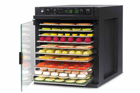 Sedona Express Dehydrator 11 Stainless Steel Trays TBSE11TSS right front open fruit