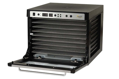 Sedona Supreme Commercial Dehydrator with 9 Stainless Steel Trays TBSSCD front side open