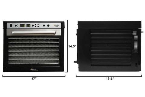 Sedona Supreme Commercial Dehydrator with 9 Stainless Steel Trays TBSSCD dimensions