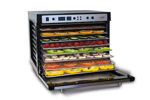 Sedona Supreme Commercial Dehydrator with 9 Stainless Steel Trays TBSSCD open with fruit