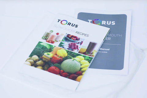 Torus T5500 Pro Bigmouth Vertical Cold Press Juicer recipe book
