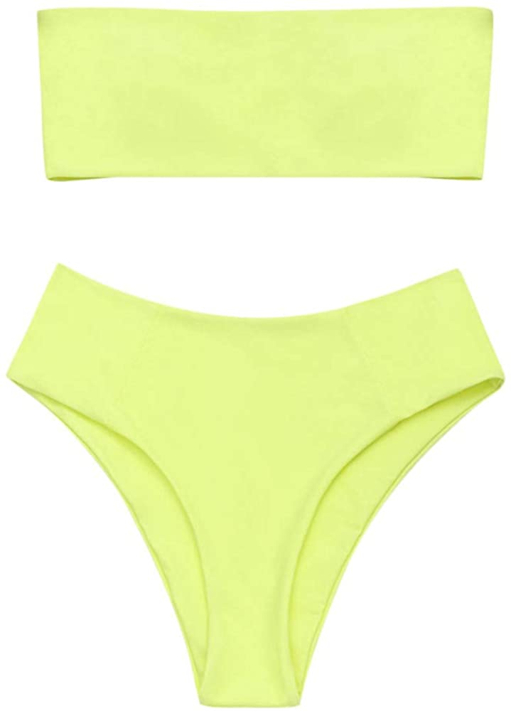 Women's Strapless Solid Color 2 Pieces Bathing Suit Swimsuit