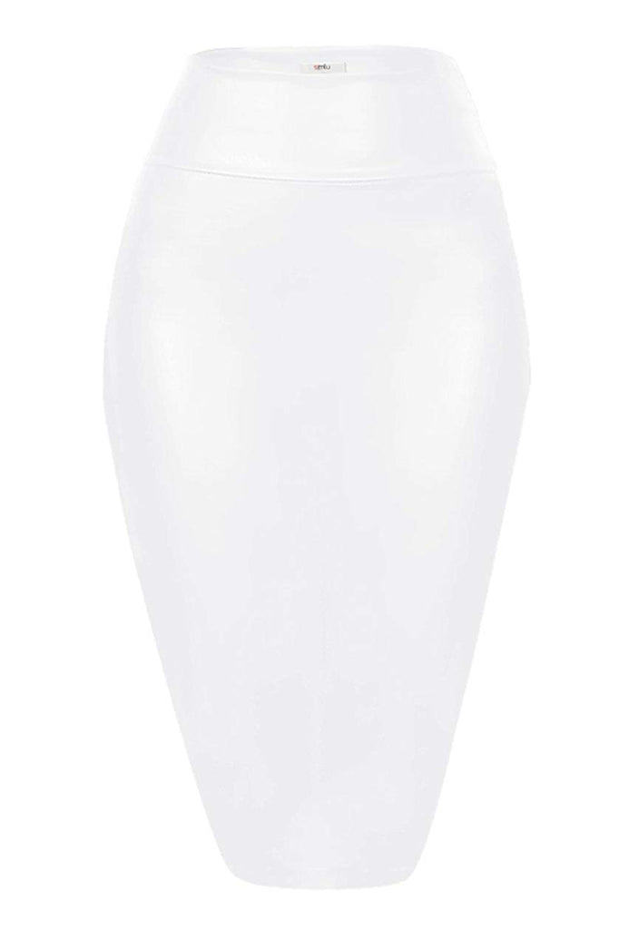 Faux Leather Pencil Skirt Below Knee Length Skirt Midi Bodycon Skirt for Womens, USA