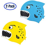Kids Swim Cap, Pack of 2, Fun Silicone Junior Swim Cap for Boys and Girls,Fun Design Waterproof Swimming Cap