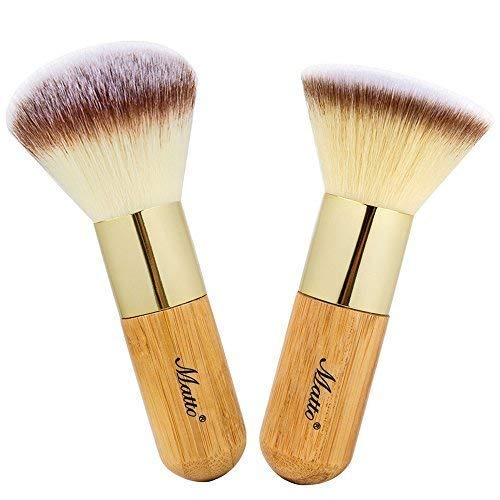 Makeup Brush Set Face Kabuki 2 Pieces - Foundation and Powder Makeup Brushes for Mineral BB Cream