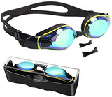 Swim Goggles with 3 Adjustable Nose Pieces, Flat Lens Swimming Goggles, No Leaking Anti-Fog UV Protection