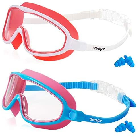 Kids Swimming Goggles Updated No Leaking Anti-Fog Wide Lenses Fitting Swim Goggles UV Protection Crystal Clear Watertight
