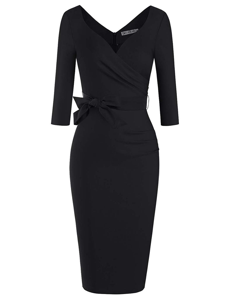 Women's Classic Retro V Neck Half Sleeve Sheath Formal Juniors Dress