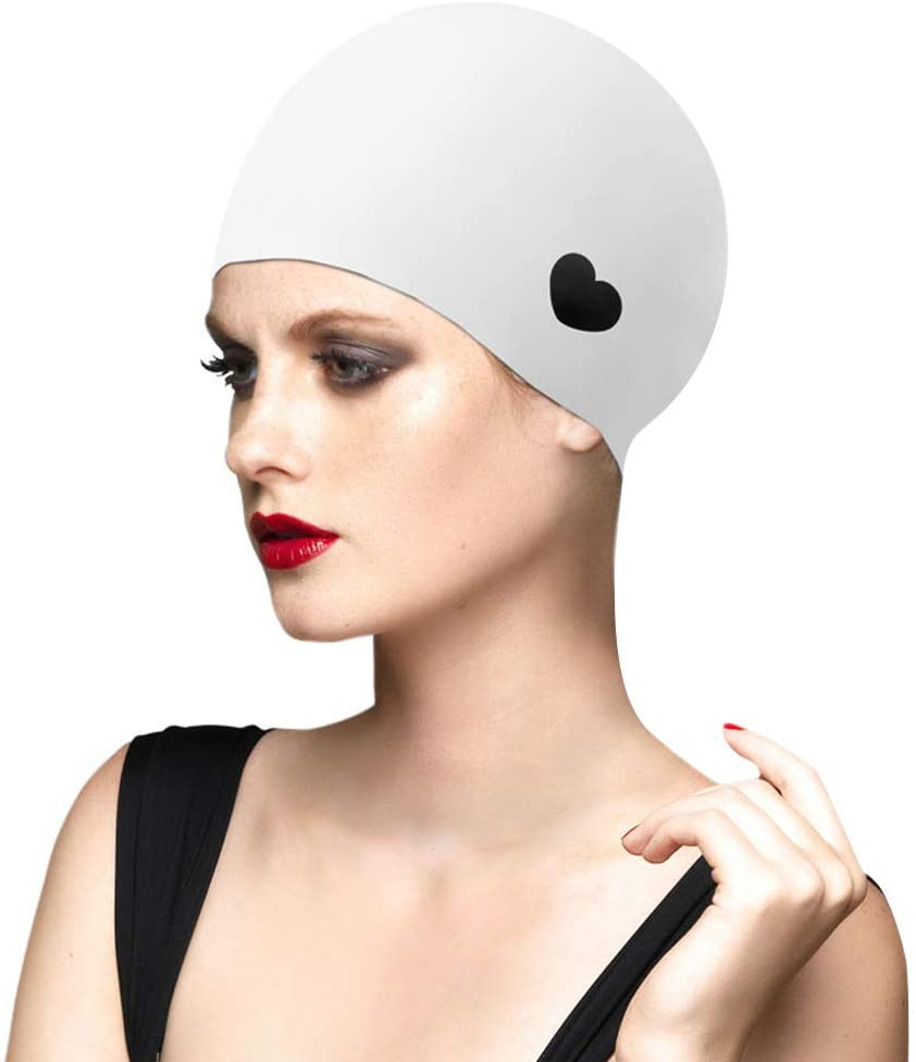 Swim Cap Women for Long Hair, Silicone Swimming Cap for Women